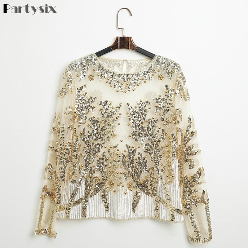 Partsix Sexy Sequined Embroidery Gold Flower Shirt Shiny Transparent Gauze Heavy Beading Blouses