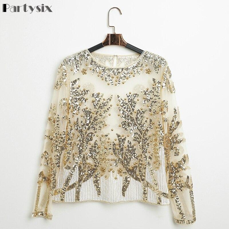 Partsix Sexy Sequined Embroidery Rose Flower Shirt Shiny Transparent Gauze Heavy Beading Blouses