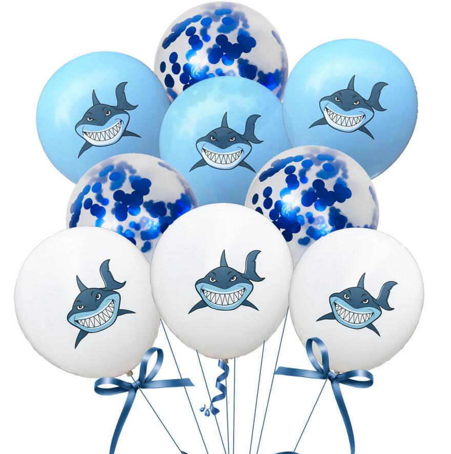 10pcs Shark Latex Balloons Baby Shark Birthday Party Decorations Kids Baby Shower Confetti Balloon Marine Theme Party 12inch in Ballons Accessories from Home Garden