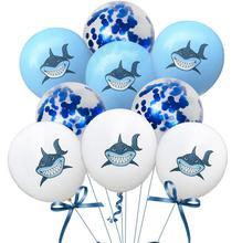 10pcs Shark Latex Balloons Baby Birthday Party Decorations Kids Shower Confetti Balloon Marine Theme 12inch