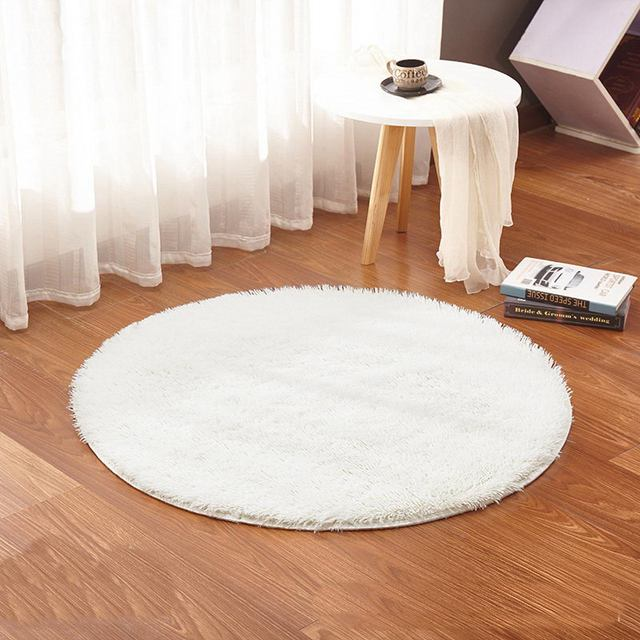 White Color Round Rug Carpet Living Room Carpet Kids Room