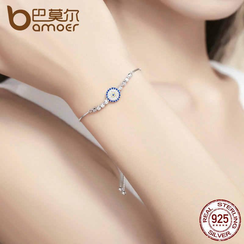 BAMOER 925 argent Sterling chanceux rond yeux bleus puissance Tennis Bracelet pavé CZ réglable lien chaîne Bracelets bijoux SCB006