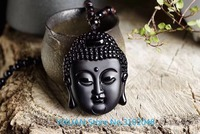 Natural Frosted Obsidian Sakyamuni Buddha Head Hanging Amitabha Necklace for Men and Women