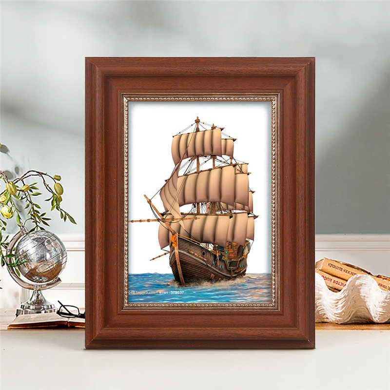 Dropshipping Vintage Plastic Photo Frame For Desk, Home Office Decoration 5/6/7/8/10 Inch Pictures Frames Table cornice foto