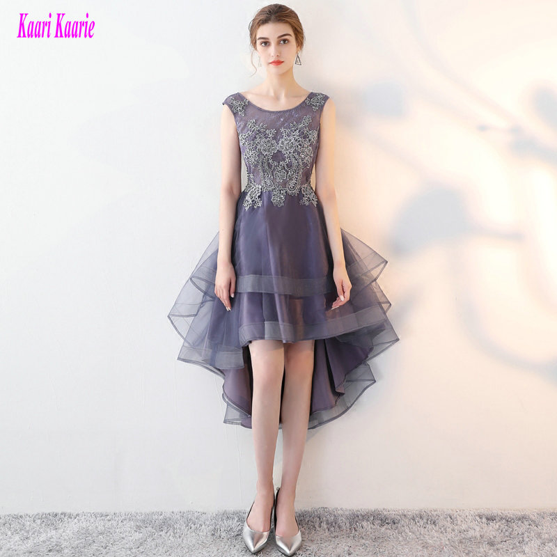Fashion Grey Violet Prom Dresses 2019 New Sexy Prom Dress Short Tulle Appliques Beading Beach Built In Bra Prom Gown Custom Made