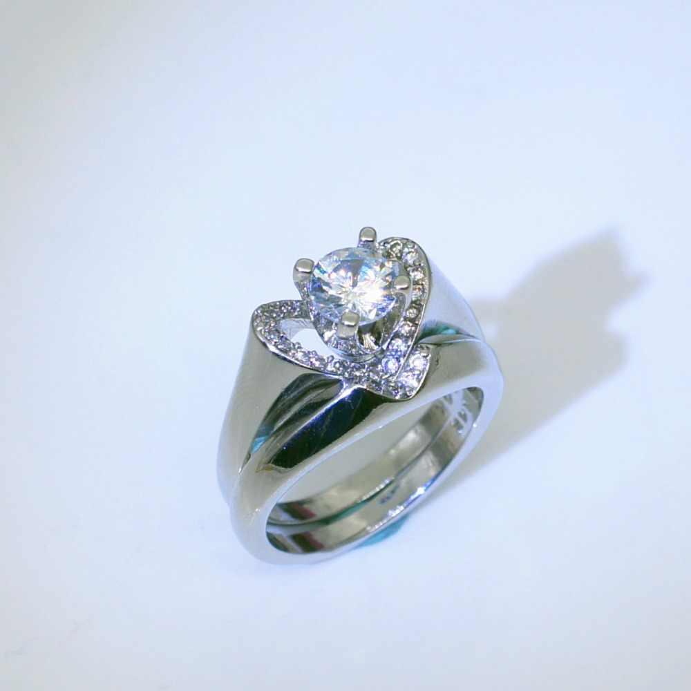 Thương hiệu Nữ Pha Lê White Wedding Nhẫn Set Sang Trọng 925 Bạc Trái Tim Chiếc Nhẫn Đính Hôn Cổ Điển Bridal Nhẫn Cưới Cho Phụ Nữ