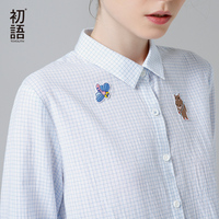 Toyouth 2017 New Arrival Women Spring Blouse Fashion Plaid Cartoon Embroidery Shirts Female Turn Down Collar