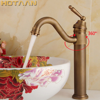Free Shipping Antique Bronze Finishing Output Bathroom Sink Faucet Tap Handle Water Tap Basin Faucet Wash