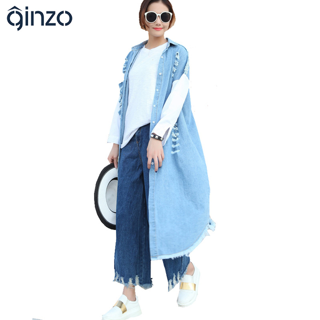 Women's casual loose long holes ripped denim coat Personality shirt sleeve trench