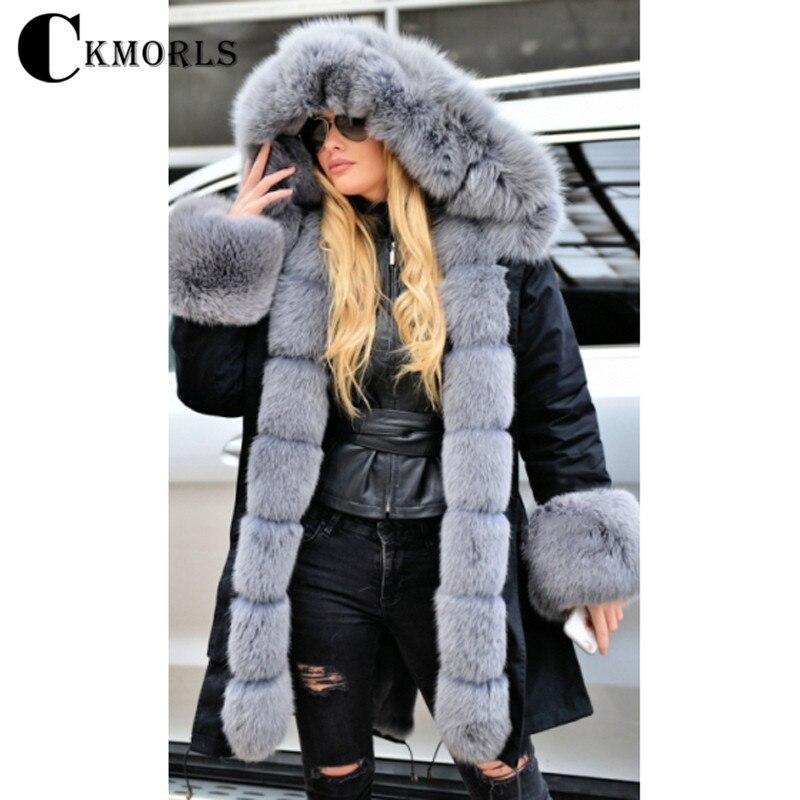 CKMORLS New Real Fur Parka With Grey Fox Fur Collar Thick Warm Outerwear Fashion Black Jacket Long 80CM Coat Natural Rabbit Fur