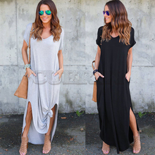 CUERLY Womens Casual Loose Pocket Long Dress Women Short Sleeve Dresses T Shirt Solid Color Vintage V-neck