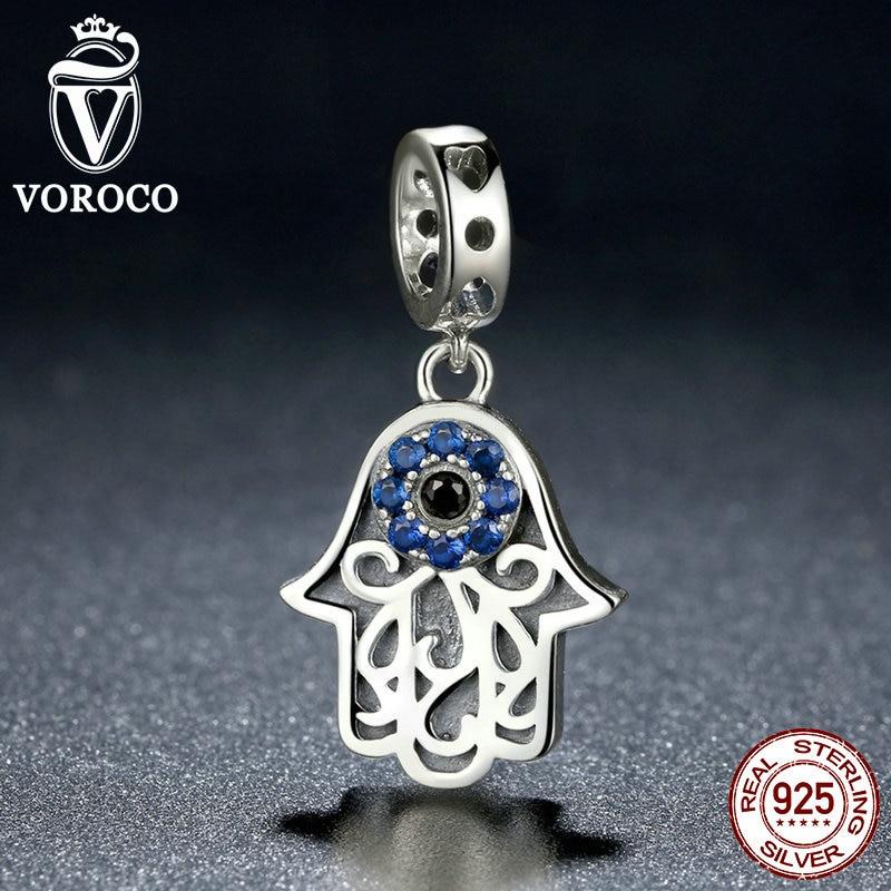 VOROCO 925 Sterling Silver Blue Evil Eye Charms Pendants Fit Original Pandora font b Bracelets b