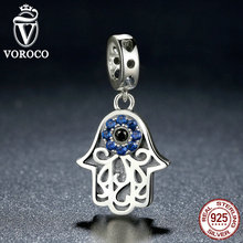 VOROCO 925 Sterling Silver Blue Evil Eye Charms Pendants Fit Original Pandora Bracelets & Bangles Fashion Jewelry C085