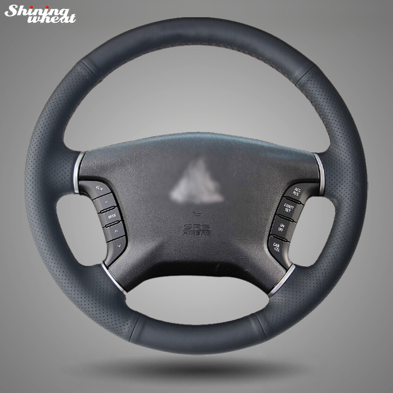 Shining wheat Hand-stitched Black Leather Car Steering Wheel Cover for Mitsubishi Pajero 2007-2014 Galant 2008-2012