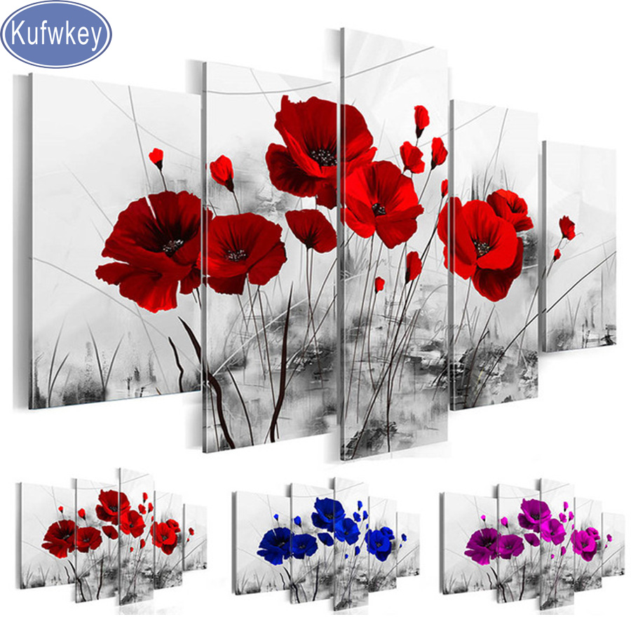 5d diamond mosaic Diamond embroidery,Nature's Poppy Flower diamond painting 5 pcs new arrivals full drill square,stickers,puzzle