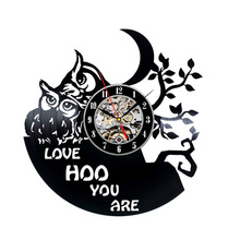 Love Owls Creative Design Antique LED Vinyl LP Record Wall Clock 3D Decorative Hanging Clock Handmade