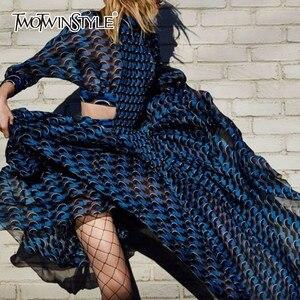 Image 1 - TWOTWINSTYLE patchworkowa sukienka dla kobiet etui i stojak z nadrukiem kołnierz tunika wysokiej talii zmarszczony, długi suknie 2020 wiosna eleganckie ubrania