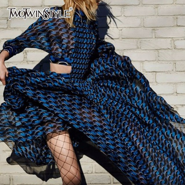 TWOTWINSTYLE patchworkowa sukienka dla kobiet etui i stojak z nadrukiem kołnierz tunika wysokiej talii zmarszczony, długi suknie 2020 wiosna eleganckie ubrania