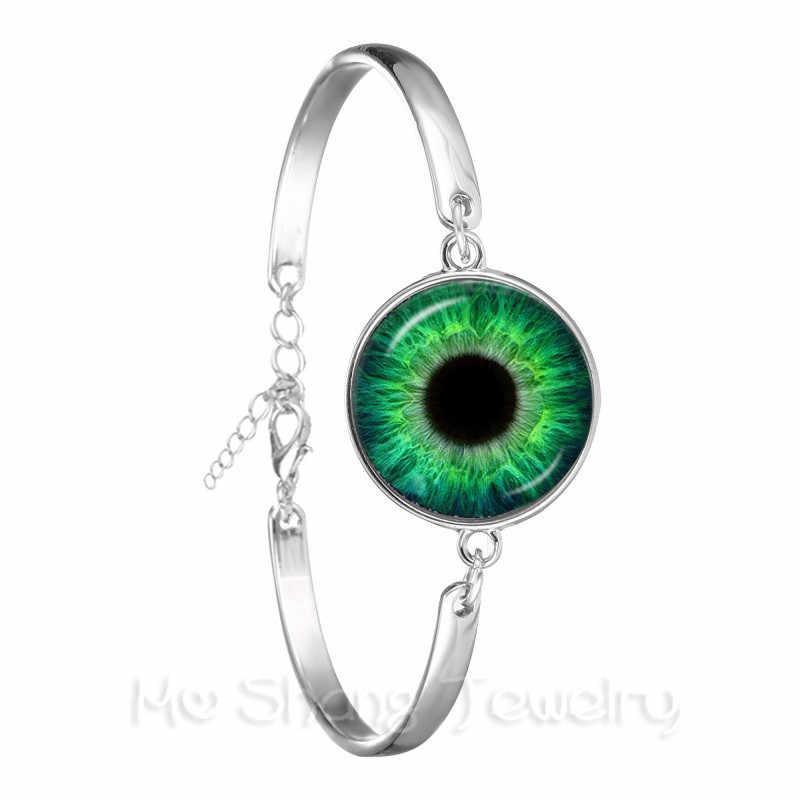 أزياء سلسلة سوار 18 مللي متر الزجاج قبة الأسود الأخضر القط العين الإسورة الشر عيون أساور التنين العين مجوهرات بالجملة
