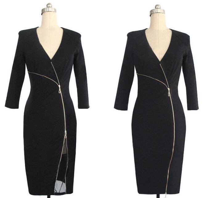 5f07e165a59 2015 Women v neck Elegant patchwork wrap Work Business Casual office  evening party Dress clothing long sleeve dress china-in Dresses from Women s  Clothing ...