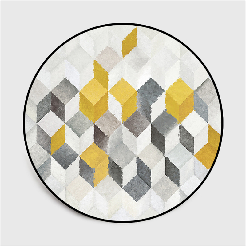 AOVOLL Fashion Simple Nordic Style Abstract Yellow Gray Geometric Round Rugs Carpet Kids Room Bedroom Rugs Anti-slip Floor Mats