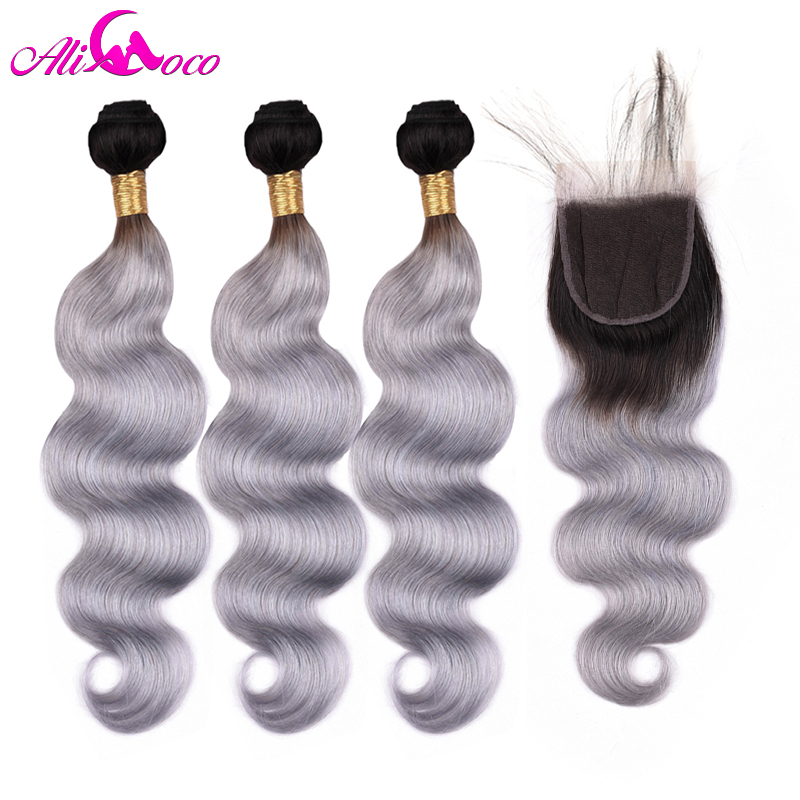 Ali Coco Brazilian Body Wave Bundles With Closure 1B/Grey Remy Hair 3 Bundles And Closure Human Hair Extensions Free Shipping