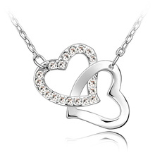Romantic Match Hearts Clasped Necklaces Pendants Crystals From Swarovski Women Lovers Gifts