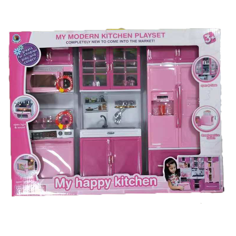 US $34.82 19% OFF|Kids Large Children /27s Kitchen With Sound And Light  Girls Pretend Cooking Toy Play Set Pink Simulation Cupboard Gift Toy  Food-in ...