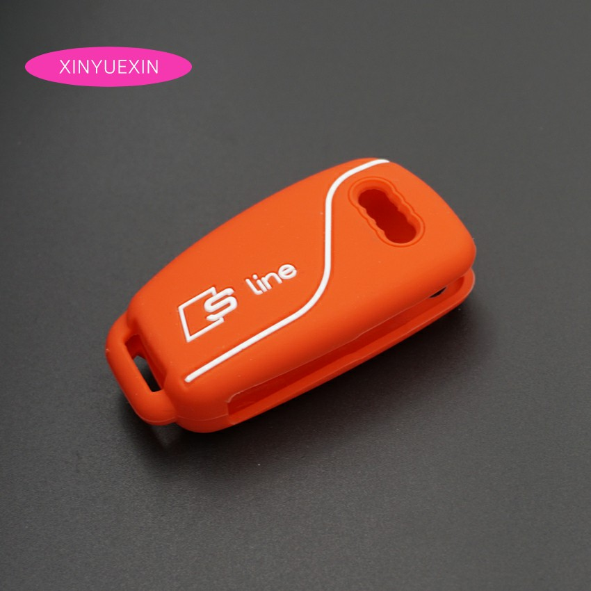 Xinyuexin New For Audi Silicone Car Key Cover FOB Case For Audi A1 A3 Q3 Q7 R8 A6L TT Flip Remote Key Jacket Car styling 3Button genuine leather car steering wheel cover for audi a4l a6l a3 q3 q5 q7 car accessories styling