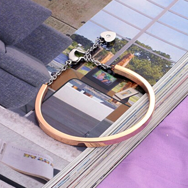 Factory Price Fashion Gold Color 316L Stainless Steel Bangels Bracelets for women 5