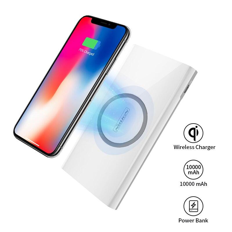 Puissance Banque 10000 mah Nillkin 2 dans 1 Qi Sans Fil Chargeur Universel Portable Power Bank pour iPhone X/8 pour Samsung S9/S8 Pour xiaomi