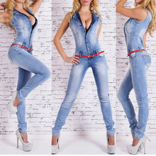 Womens Jeans Jumpsuit Sexy Bodycon washed white Pockets Overalls Denim Sleeveless Club Wear Jumpsuits Ladies Rompers