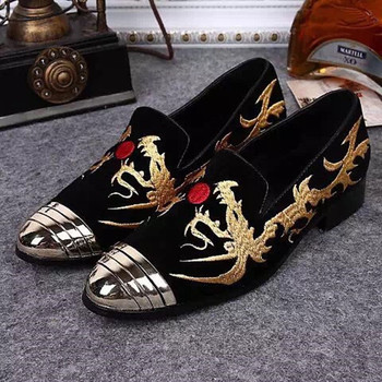 Dragon Embroidery Lace Mens Loafers Shoes Dress Wedding Party Shoe Homre Flats Slip on Metal toe Man Oxfors Big Size 46 Hombre