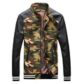 PU Leather Sleeve Men Camouflage Baseball Jackets New 2017 Stand Collar Patchwork Design Male Military Style Coat  Free Shipping
