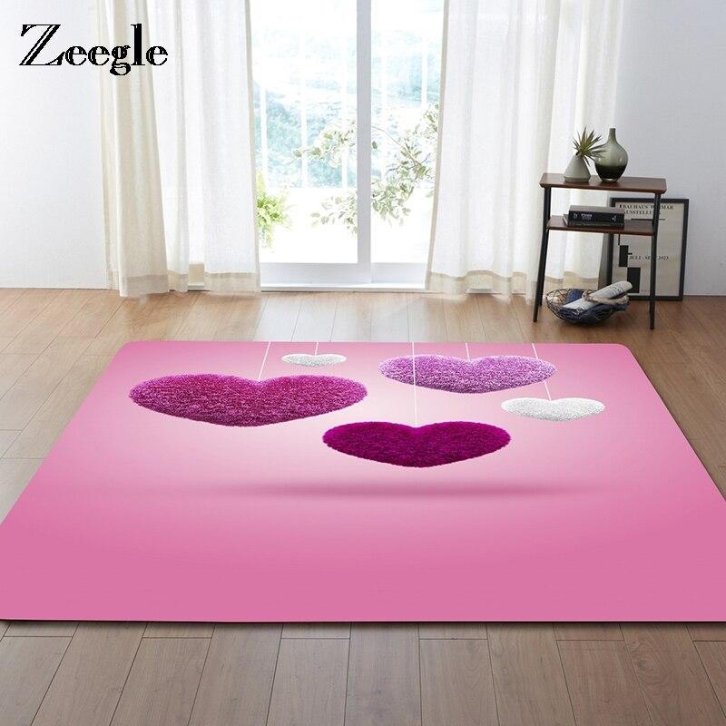 Zeegle Love Heart Design Large Size Home Rugs Soft Living Room ...