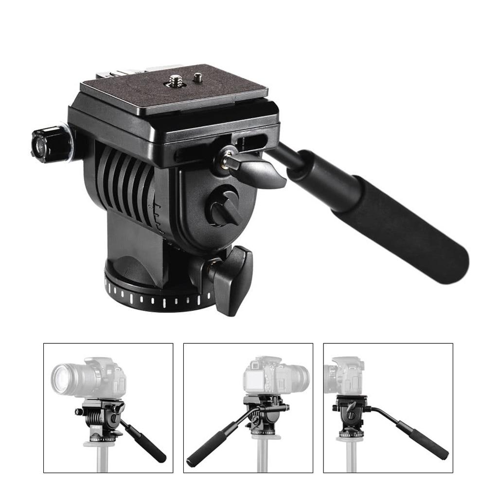 Video Tripod Fluid Head w Handle Quick Release Plates For Canon Nikon DSLR