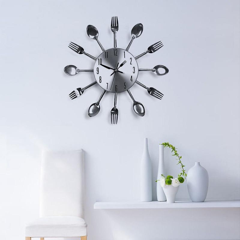 design moderno metallo nastro posate utensile da cucina orologio da parete cucchiaio forchetta orologio orologio da