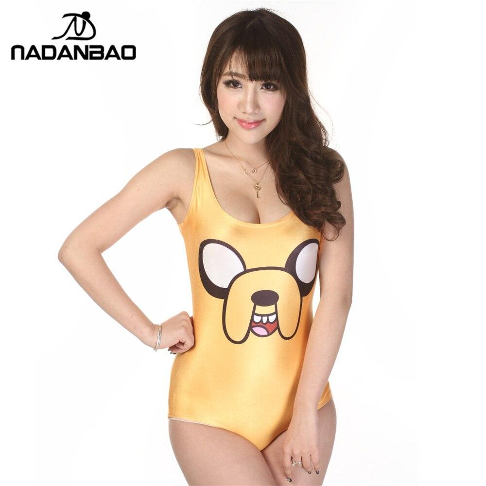 Nová značka sexy žluté plavky kreslený tištěné ženy bez rukávů roztomilý pláž nosí jednodílné plavky CYQ1013