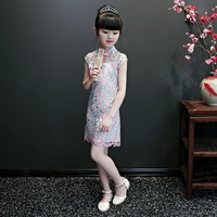 2018 winter girls embrodeiry floral qipao dress chinese style costume girl party wear lace cheongsam kids prom gown formal dress