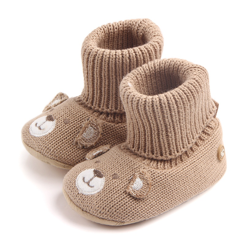 Baby Shoes Winter Newborn Kids Girls Boys Cute Cartoon Bear Boots First Walkers Knitted Warm Soft Boots