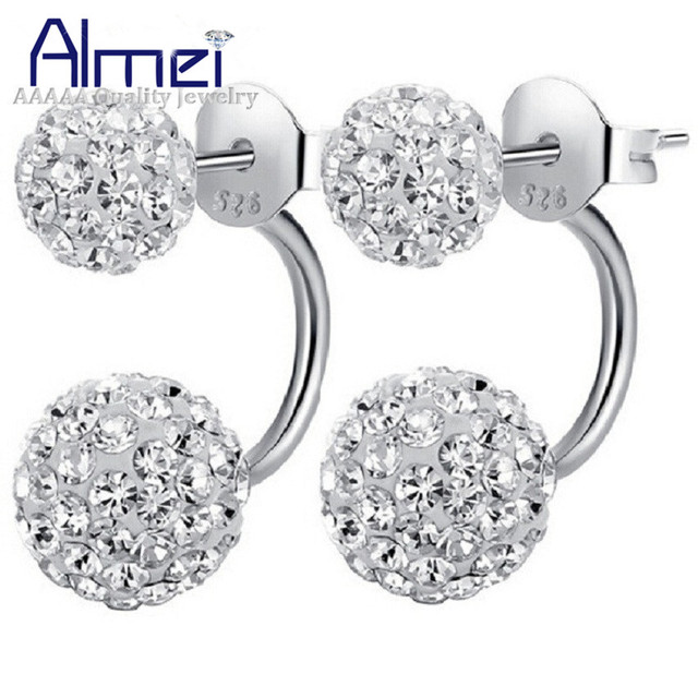Almei Cute White Crystal Earrings Silver Color Women Jewelry Red Double Ball Black Stud Earring Flower
