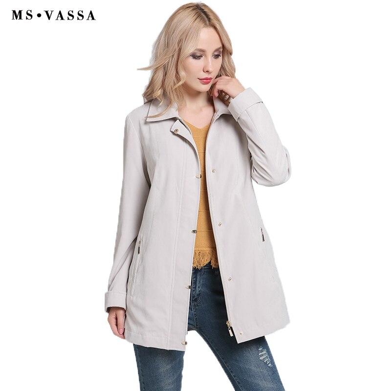 MS VASSA Ladies   Jackets   Women 2019 New Spring Autumn   basic   coats turn-down collar plus size 5XL 6XL turn-up cuff outerwear