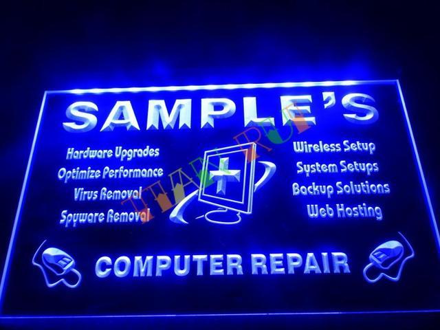 Dz059 Name Personalized Custom Computer Repairs Shop Display Neon