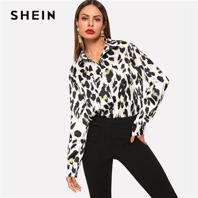 9c02df06e94d SHEIN Multicolor Pocket Patch Curved Hem Leopard Print Shirt Casual  Highstreet Asymmetrical Women Autumn Button Blouse
