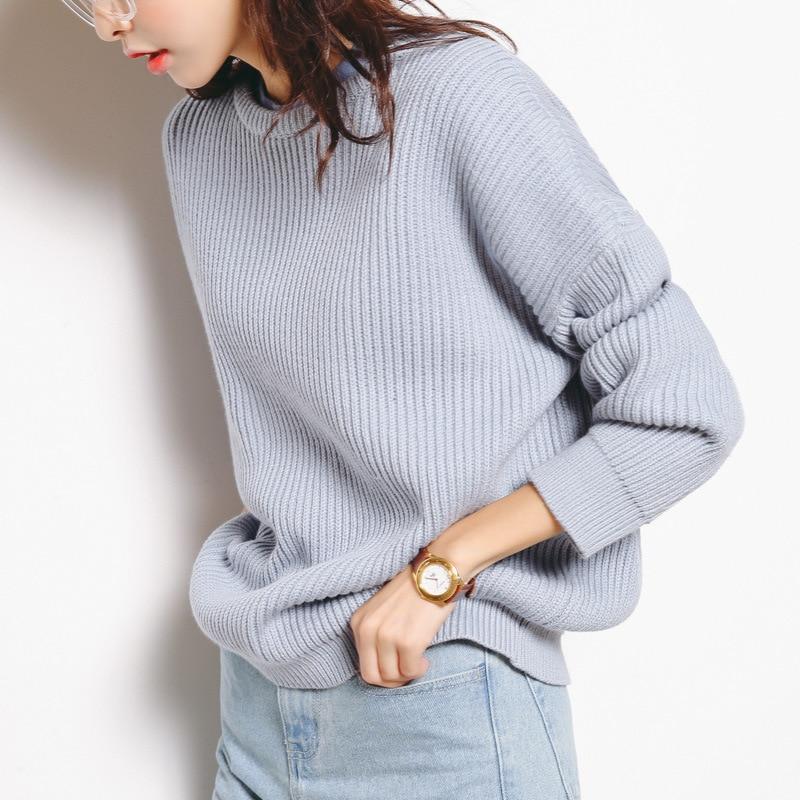 podzimní a zimní svetr dámské jednobarevné pletený slim svetr mladé dívky plné rukávy o-neck teplé elegantní svetry A125