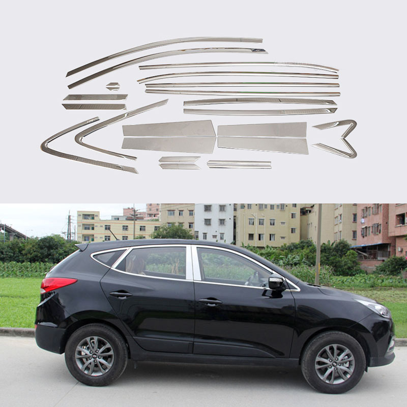 Stainless Steel Full Window With Center Pillar Decoration Trim Car Accessories For Hyundai IX35 2013 2014 2015 24 for vauxhall opel astra j 2010 2014 stainless steel window frame moulding trim center pillar protector car styling accessories