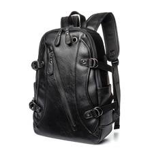 Retro Leather Mens Backpack Male Book Bag Black Fashion Designer Knapsack Travel Backpacks Mochilas Para Ipad Case Mochila