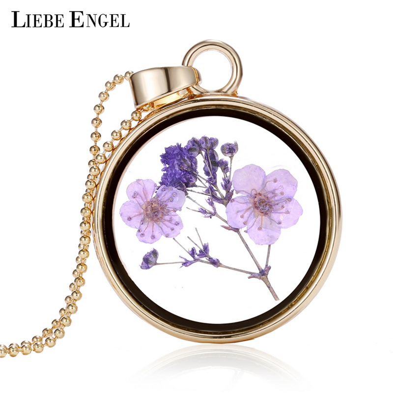 LIEBE ENGEL Fine Jewelry Dry Flowers Round Glass Pendant Necklace Gold Color Long Chain Necklace Vintage Summer Necklace Gift