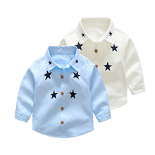 2017 Autumn Long Sleeve Boy's Shirts Casual Turn-down Collar Camisa Masculina Blouses For Children Kids Stars Clothes
