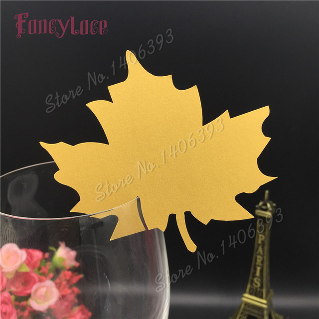 60pcs Maple Leaf Laser Cutting Cup Card Wine Glass Card Party